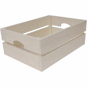 Caja listonada con asas de madera para decorar