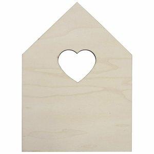 Casita con ventana corazón de chopo 13x18 cm