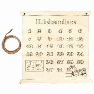 Calendario de madera para colgar Diciembre y Navidad