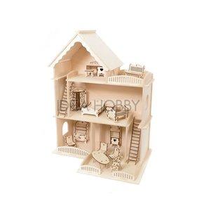 Casa de muñecas de madera con muebles 46x20x59 cm