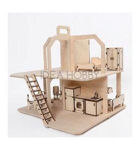 Casa estilo retro de madera con muebles 38x38x37 cm