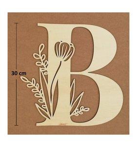 Letra B de madera de chopo de 30 cm de altura