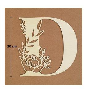 Letra D de madera de chopo de 30 cm de altura