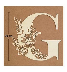Letra G de madera de chopo de 30 cm de altura