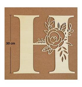 Letra H de madera de chopo de 30 cm de altura