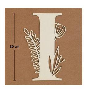 Letra I de madera de chopo de 30 cm de altura