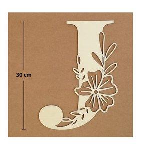 Letra J de madera de chopo de 30 cm de altura