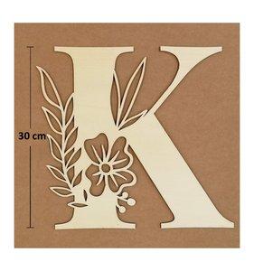 Letra K de madera de chopo de 30 cm de altura