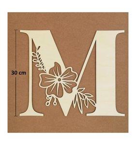 Letra M de madera de chopo de 30 cm de altura