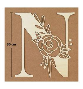 Letra N de madera de chopo de 30 cm de altura