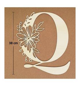 Letra Q de madera de chopo de 30 cm de altura