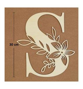 Letra S de madera de chopo de 30 cm de altura