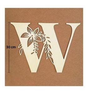 Letra W de madera de chopo de 30 cm de altura