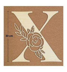 Letra X de madera de chopo de 30 cm de altura