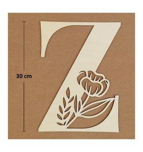 Letra Z de madera de chopo de 30 cm de altura