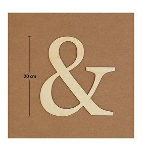 Símbolo & de madera de chopo de 20 cm de altura