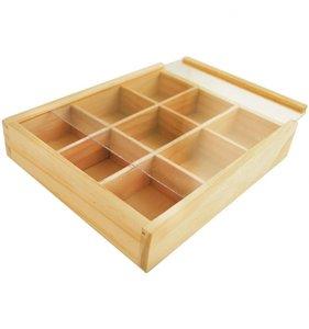 Caja de madera 9 compartimentos y tapa