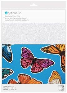 Papel adhesivo Silhouette Glitter White 8 pcs