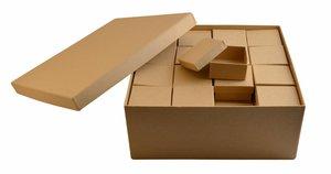 Caja Kraft cuadrada con 48 cajitas interiores