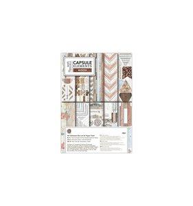 Kit A4 de papeles y adornos Capsule Elements Wood