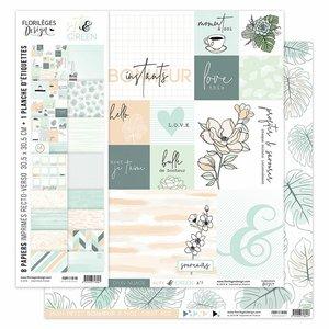 """Kit de papeles 12""""x12"""" Florilèges Soft & Green"""