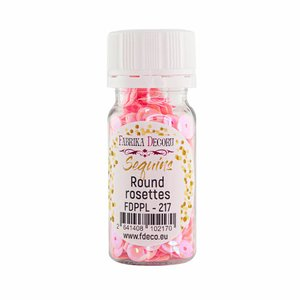 Bote de lentejuelas FD Round Rosettes Pink Shabby Metallic