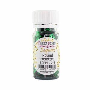 Bote de lentejuelas FD Round Rosettes Green Metallic