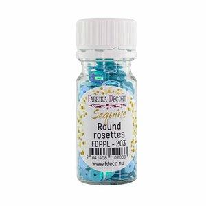 Bote de lentejuelas FD Round Rosettes Blue with Iridiscent Nacre