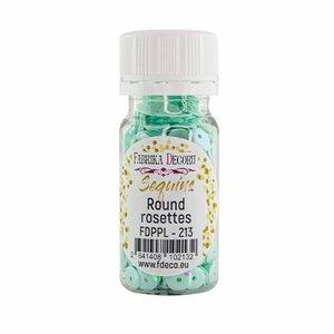 Bote de lentejuelas FD Round Rosettes Mint with Iridiscent Nacre