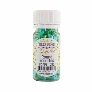 Bote de lentejuelas FD Round Rosettes Aquamarine with Iridiscent Nacre