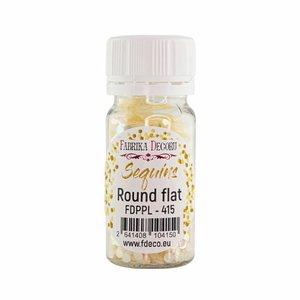 Bote de lentejuelas FD Round Flat Cream with Iridiscent Nacre