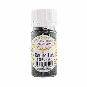 Bote de lentejuelas FD Round Flat Black with Iridiscent Nacre
