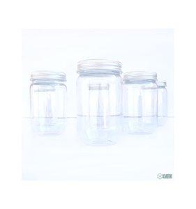 Set 6 botes plástico tipo Mason Jar pequeños