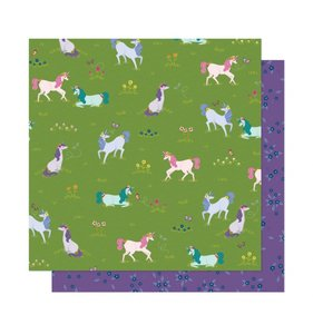 """Papel 12""""x12"""" Head in the clouds Unicorn Crossing"""