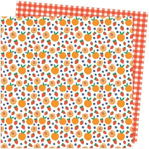 """Papel 12""""x12"""" Amy Tangerine Picnic in the park Peach Pit"""