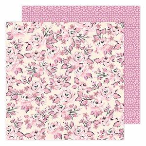 "Papel 12x12"" Garden Party de Maggie Holmes Pink Rose Buds"