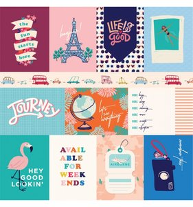 """Papel 12""""x12"""" Let's Travel 3x4 Journaling Cards"""