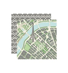 "Papel 12x12"" En Vogue Maps of Paris"