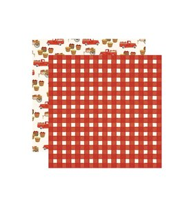 """Papel 12x12"""" Fall Market Red Gingham"""