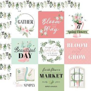 """Papel 12x12"""" Carta Bella Flower Garden 4""""X4"""" Journaling Cards"""