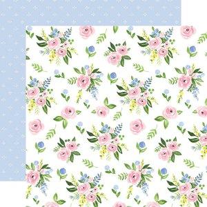"Papel 12x12"" Carta Bella Flora n4 Pastel Large Floral"