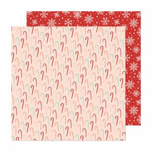 """Papel 12""""x12"""" Busy Sidewalks de Crate Paper Candy Cane Christmas"""