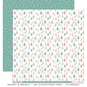 """Papel 12x12"""" Cocoa Vanilla Merry & Bright Christmas Tree"""