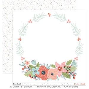 """Papel 12x12"""" Cocoa Vanilla Merry & Bright Happy Holidays"""