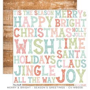 "Papel 12x12"" Cocoa Vanilla Merry & Bright Seasons Greetings"