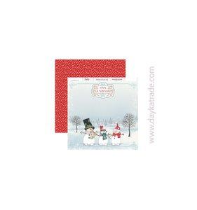 """Papel 12""""x12"""" Dayka Muñecos de nieve"""