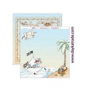 "Papel 12""x12"" Dayka Pirata y mapa del tesoro"
