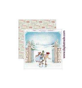 "Papel 12""x12"" Dayka Niños patinando Navidad"