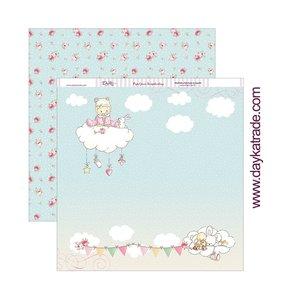 """Papel 12""""x12"""" Dayka Bebé en nube rosa"""