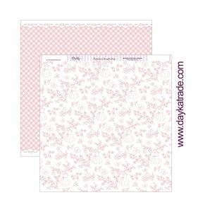 "Papel 12""x12"" Dayka Floral con pajaritos rosa"